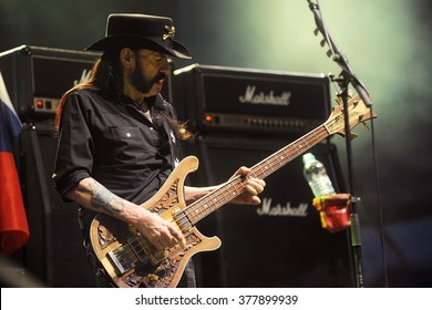 PILSEN - JULY 4: Singer and bass guitarist Lemmy Kilmister of Motorhead during performance at festival Rock for People Europe in Pilsen, Czech republic, July 4, 2015.