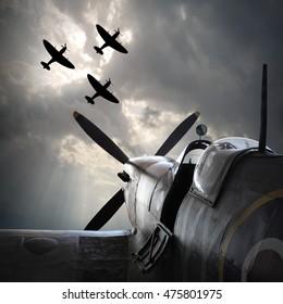 PILSEN LINE CZECH REPUBLIC - AUGUST 26, 2016: Supermarine Spitfire mk XVI preparing to start in last evening light. Famous fighter plane from second world war. In memory of Battle of Britain heroes.