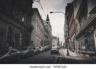 PILSEN (PLZEN), CZECH REPUBLIC - MAY 22, 2017: View of Zbrojnicka street.