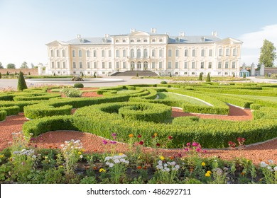 Pilsrundale, Latvia - July 1, 2016: Exterior of Rundale palace. Rundale palace is one of the most outstanding monuments of Baroque and Rococo art in Latvia.