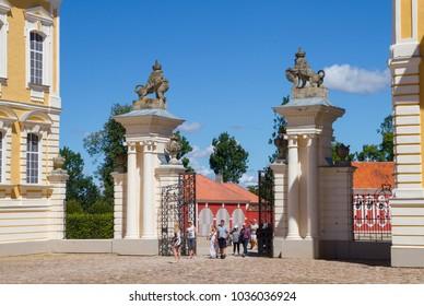PILSRUNDALE, LATVIA - JULY 19, 2016: Main entrance of Rundale Palace in Pilsrundale, Latvia.
