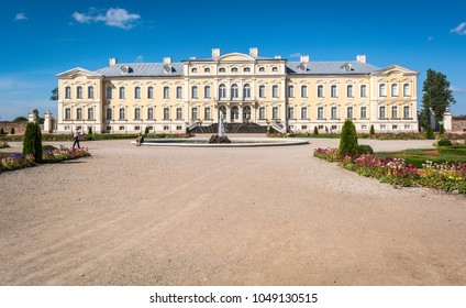 Pilsrundale, Latvia - June 23 2016: Rundale Palace in Latvia. The palace is one of the major tourist destinations in Latvia.