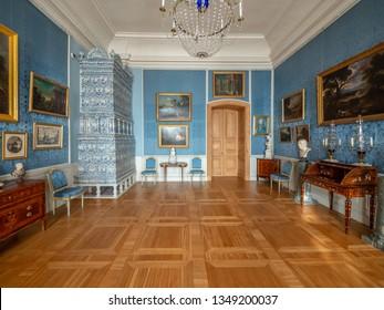 PILSRUNDALE, LATVIA, March 24, 2019: Interior of Rundale palace - the Italian Salon.