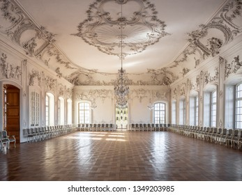 PILSRUNDALE, LATVIA, March 24, 2019: Interior of Rundale palace -The White Hall. This hall was initially designed as a chapel, but in the second construction period it was transformed into a ball-room