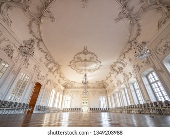 PILSRUNDALE, LATVIA, March 24, 2019: Interior of Rundale palace -The White Hall. Ball room