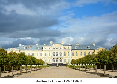 Pilsrundale, Rundales pagasts, Rundales novads, Latvia - September, 28, 2018: Rundale Palace Museum. Baroque palace with ornamental gardens, landscape architecture. Complex of palace ensemble.