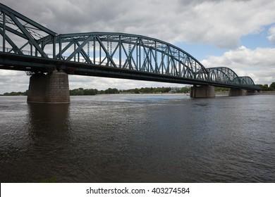 Pilsudski Bridge (Jozefa Pilsudskiego) over Vistula River in Torun, Poland