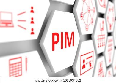 PIM concept cell blurred background 3d illustration