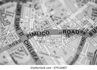 Pimlico Road. London, UK map.