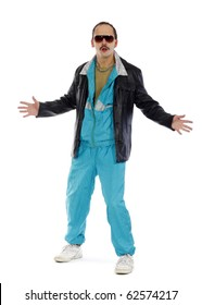 Pimp, wearing a retro tracksuit and leather on white background