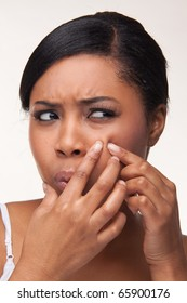 Pimple , spot on african beauty woman face
