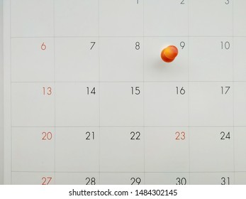 pin 9th date on calendar-important day-holidays-reminder and free space for your text