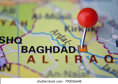 pin in baghdad on map iraq