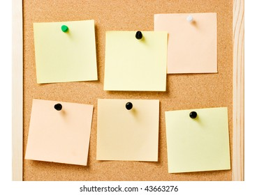 Pin board with pinned notes, useful as website template