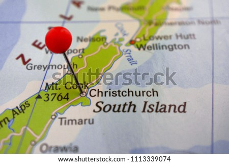 Where Is Christchurch New Zealand On The Map.Pin Christchurch On Map New Zealand Stock Photo Edit Now