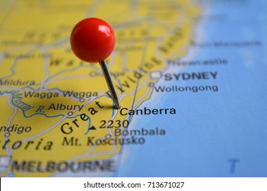 Pin in city of Canberra, Australia