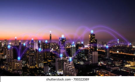 pin flat above night cityscape and glowing networking connection as communication concept