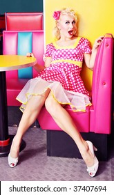 Pin up girl at american diner similar available in my portfolio