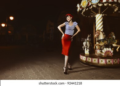 pin up girls in a Parisian style, outside at night, retro stylized photo