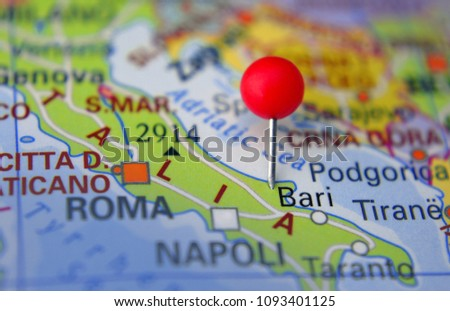 Pin Marked Bari On Map Italy Stock Photo Edit Now 1093401125