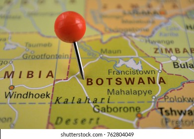 Pin marked Botswana, Africa