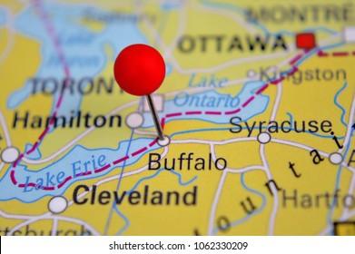 Pin marked Buffalo on map