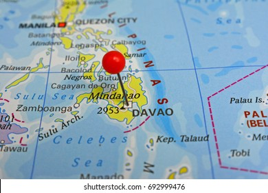 Pin marked Davao, city in the Philippines