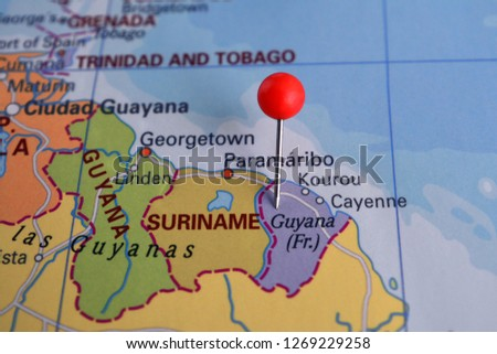 Pin Marked Guyana On Map South Stock Photo (Edit Now) 1269229258 ...
