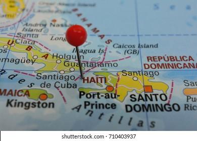 Pin marked Haiti, Caribbean