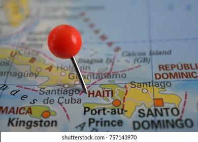 pin marked haiti on map