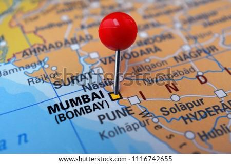 Mumbai On Map Of India.Pin Marked Mumbai On Map India Stock Photo Edit Now 1116742655