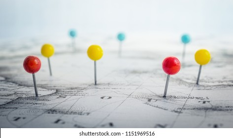 Pin marking location on map. Adventure, discovery and travel theme background.