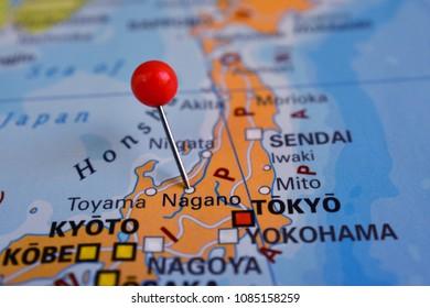 Pin in Nagano on map, Japan