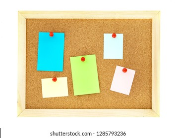 pin a note paper on cork pin board  , isolated on white