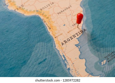 a pin on buenos aires, argentina in the world map