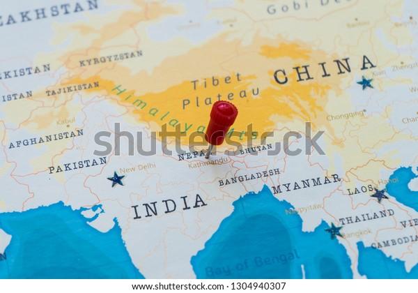 Pin On Kathmandu Nepal World Map Stock Photo (Edit Now ...