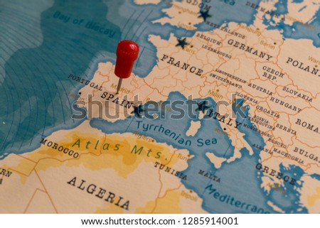 Pin On Madrid Spain World Map Stock Photo Edit Now 1285914001