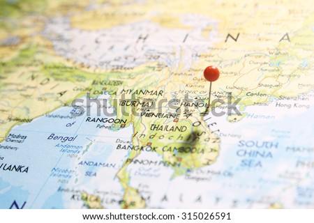 Pin On Map Focus On Hanoi Stock Photo (Edit Now) 315026591 ...
