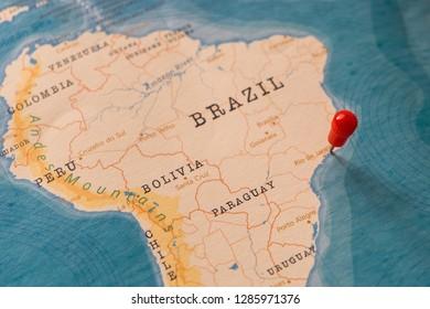 a pin on rio de janeiro, brazil in the world map