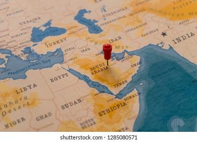 a pin on Riyadh, Saudi Arabia in the world map