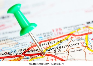 Pin On Route Map Canterbury England Stock Photo Edit Now 580203106
