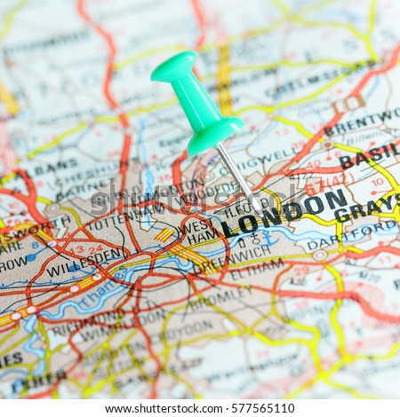 England Map London.Pin On Route Map London England Stock Photo Edit Now 577565110