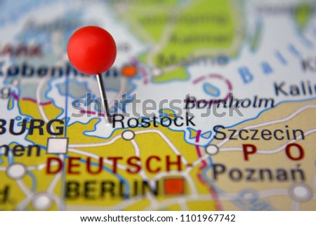 Pin Rostock On Map Germany Stock Photo Edit Now 1101967742