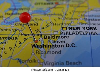 Pin in Washington DC, capital of United States