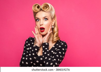 pin up woman in pink background