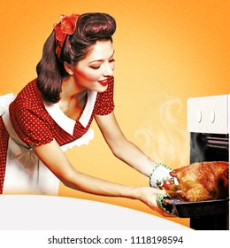 Pin up young woman cooking in an oven.Retro kitchen collage on old paper