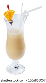 pina colada alcohol cocktail with orange and olive in a tall glass. isolated on a white background