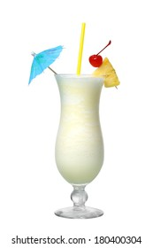 Pina Colada cocktail cutout, isolated on white background