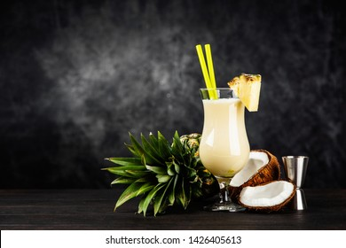 Pina Colada Cocktail on dark background