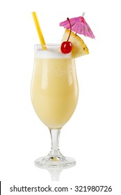 Pina colada cocktail. This Puerto Rican beverage is made basically with pineapple, coconut cream and rum.